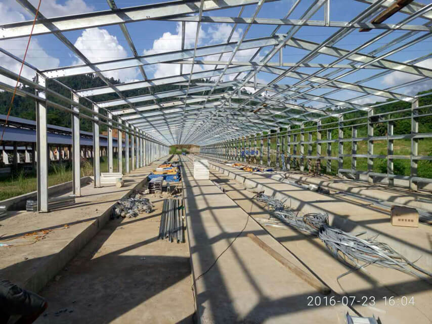 galvanized steel frame of chicken shed