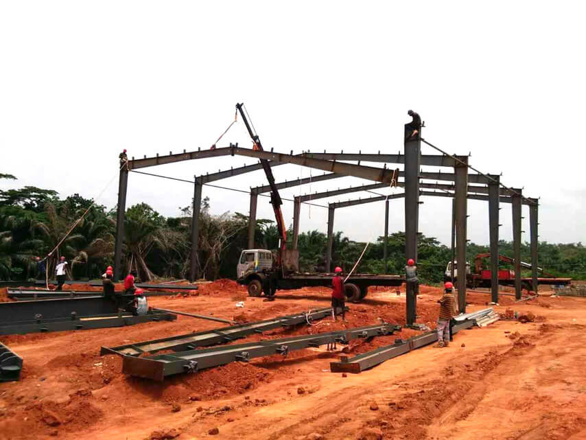 Steel Structure Rice Processing Plant Column and beam