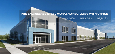 Pre-engineered steel workshop building with office 918
