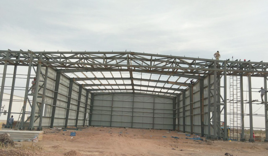 steel frame of hangar