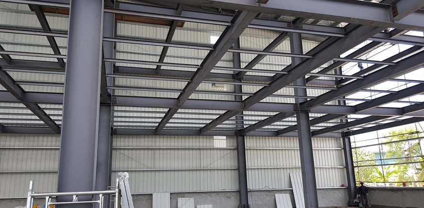 Inside of Three-StoreyPrefab Steel Structure Warehouse