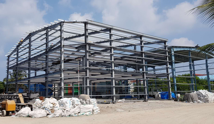 steel frame of Maldives Prefab Steel Structure Warehouse